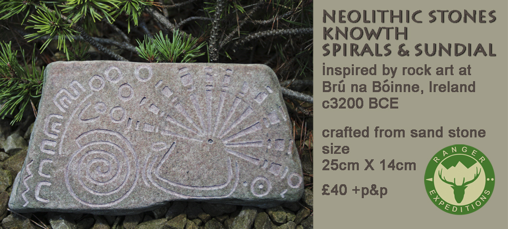 Neolithic Stone #05 - Knowth Spirals & Sundial - ONE AVAILABLE